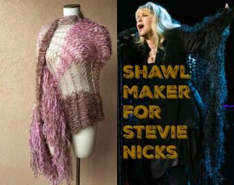 Same Designer Shawl Worn by Stevie Nicks for Rhiannon, Hand Knit by Stevie Nicks Designer Crickets in Rose Pink and Beige Colors, Fringe