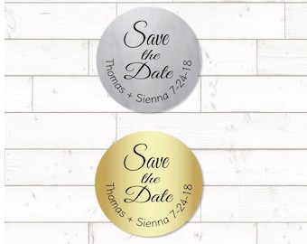 Save the Date  Sticker,  sheet of 20, custom- 2 inch circle, silver or gold foil labels, wedding announcement sticker, wedding date sticker
