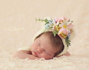 Flower Bonnet, Floral Bonnet, Garden Bonnet, Bear Bonnet, Sitter Bonnet, Fall Bonnet, Easter Bonnet, Baby Photo Prop Newborn Photo Prop,