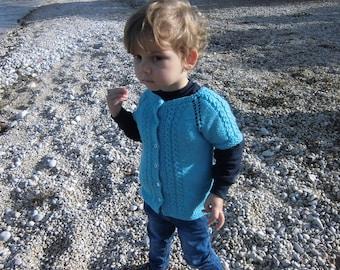 Kuzzy Design Turquoise Vest PDF Knitting Pattern,Boy baby knitting patter,hand knit baby knit ves,baby vest pattern