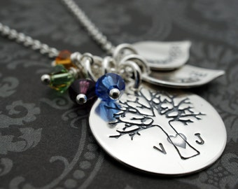 Family Tree Necklace - Personalized Family of FOUR Oak Tree Necklace - Sterling Silver Charms w/ Initials & Children's Names