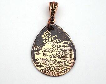 Copper ocean wave pendant, flat etched copper teardrop sea jewelry, 29mm