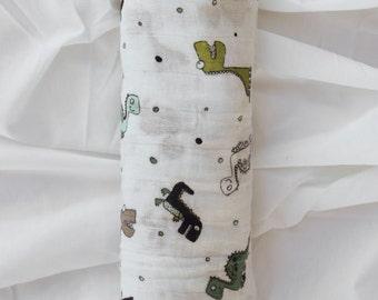 Spotosaurus Muslin Swaddle Blanket | Receiving Blanket | Baby Shower Gift |