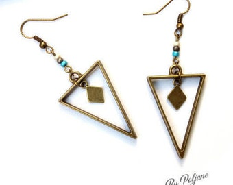 Bronze triangle geometric earrings