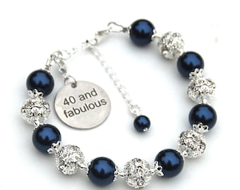 40th Birthday Gift for Women, 40 and Fabulous, 40 Charm Bracelet, Special Birthday Jewelry, The Big 40, 40th Birthday Present