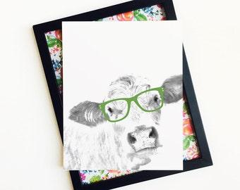 Cow Print, Black and White Animal Print, Farm Animal Print, Printable Cow Art, Cow Wearing Glasees, 8x10 Printable Wall Art