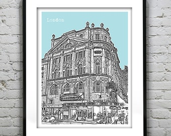 London Skyline Poster Art Print Novello Theatre England Version 15