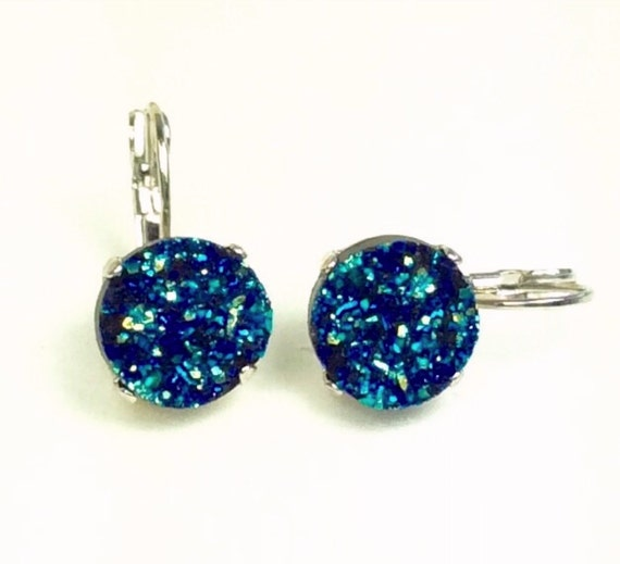 12MM Blue Green Highly Iridescent (Faux) Druzy Drop Earrings - Gorgeous Classic Drama - FREE SHIPPING