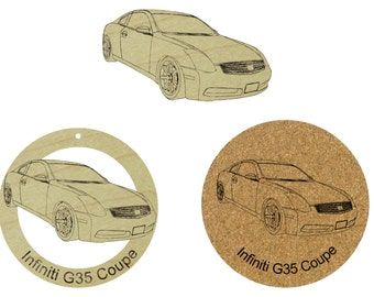 Infiniti G35 Coupe   Wooden Ornament / Fridge Magnet / Cork Coaster Set