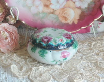 Porcelain Roses Trinket Dish, Made In Japan, Cottage, Shabby Chic