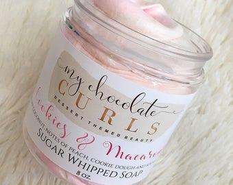 Cookies & Macarons, Sugar Whipped Soap, Sugar Scrub, Whipped Soap, Soap, Bath and Beauty, Bath, Body Polish, Exfoliate,