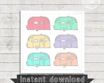 AIRSTREAM PRINTABLE, Pastel, Airstreams, Vintage Airstream, Printable, Instant Download, Airstreams, Campers, Colorful, Happy,Trailer