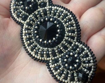 Embroidered beaded brooch with Swarowski crystals