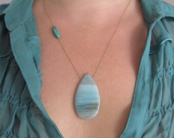 Amazonite and Turquoise Solid 14k Gold Drop Necklace