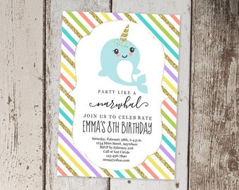 Printable Narwhal Invitation Template, Girls Birthday Party Invite, Narwhal Theme First / 1st Birthday, Instant Download Digital File PDF
