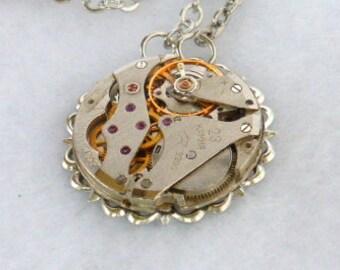 Steampunk Necklace --Vintage Watch Movement  SN277