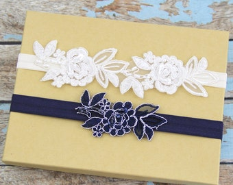 Ivory and Navy Beaded Lace Wedding Garter Set, Navy Lace Garter Set, Ivory Wedding Garter, Lace Wedding Garter Belt/ GT-34