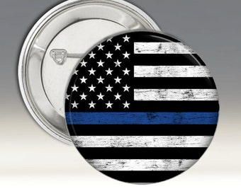 Blue Lives Matter Pinback Button Badge Support Police Policemen American Flag in Black and White With Blue Stripe Weathered Wood Background