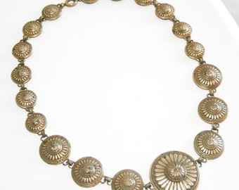 1930s Brass Medallion Necklace