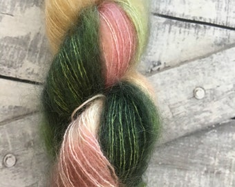 Variegated Hand Dyed Yarn-LUCY-Hairy Toad-50 gram skein of mohair yarn-72 Kid Mohair, 28 Silk-459 yards-Toad Hollow Yarn-Indie Dyed Yarns