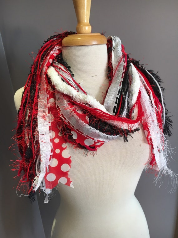 Handmade Fringie, Minnie Mouse, Wisconsin Badgers, UW Madison, Red white polka dot, Scarf, ribbon fringe scarf, red white black, Cardinals,