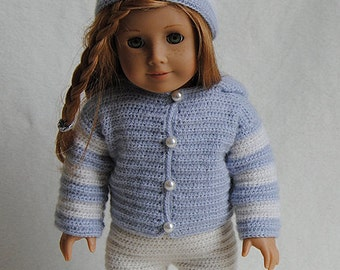 Instant Download - PDF Crochet Pattern - American Girl Doll Clothes 36 - Hoodie, pants and Hat