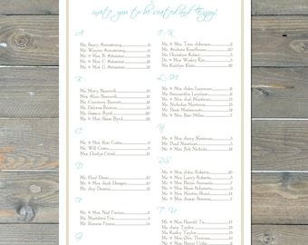 Seahorse Seating Chart, Digital, Nautical, Beach Table Assignment for your Wedding or Special Event-Choose Sm, Md or Lg up to 300 guests