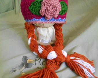 Anna Beanie with Braids- MADE to ORDER- Frozen's Princess Anna inspired hat