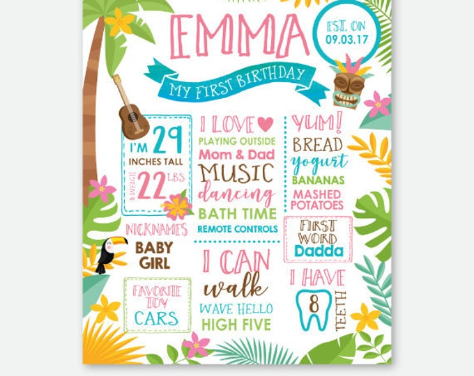 Luau Birthday Board, Hawaiian Party Milestones Sign, Tropical First Birthday Party, Pool Birthday Party, Personalized Digital Sign