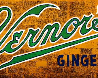"""Vernor's painted wall sign photograph on 48"""" x 12"""" canvas"""