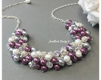 Bridesmaid Gift Plum Necklace Pearl Necklace Grey and Plum Jewelry Necklace Bridesmaid Necklace Maid of honor Gift Idea for Women Wedding