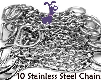 10 Stainless Steel Martingale Chains, Half Check Chain,  for Dog Collars,  2.5mm,  Stainless Center Chain for your Martingale Dog Collar