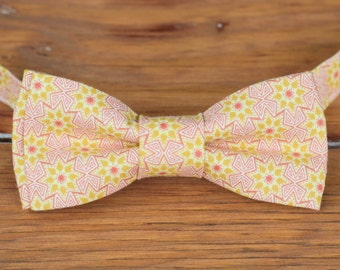 Mens Bow Tie - men's pink gold star cotton bowtie - bow tie for men and teen boys - mens wedding bow tie - mens photo bow tie - gift for him