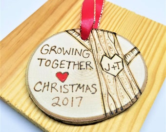 Couples ornament, his and hers ornament, anniversary ornament, wood ornament, couples gift, personalized gift, wedding ornament, valentine