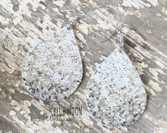 Earrings - Silver Glitter - Faux Leather Earrings - Teardrop