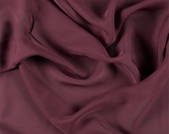 Wine Silk Double Georgette, Fabric By The Yard