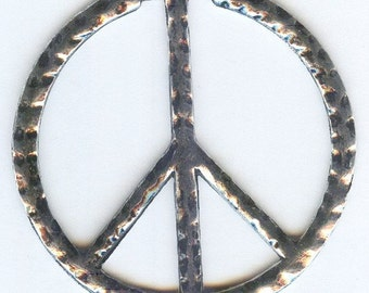 Hammered Silver Large Peace Sign Pendant 49mm