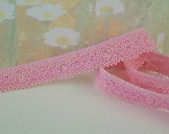 5yds Pink Elastic Picot Skinny 3/8 inch Sewing Trim Single sided Edging light pink diy Headband Bra Lingerie Elastic by the yard
