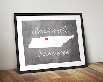 Clarksville Tennessee State Print - Tennessee State Print - Tennessee Gift - Concrete Style Clarksville Print - State Print