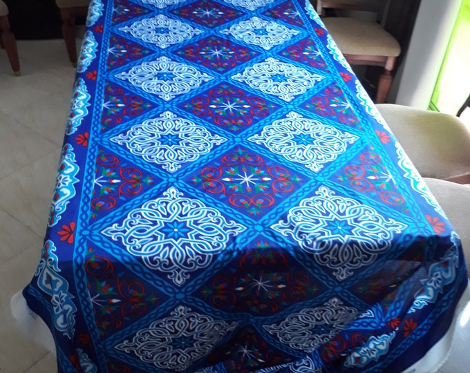 Fabric for clothing by the yard. ethnic pattern. checkered arabesque Egyptian. for making pillows. Decorative items. Couture clothing
