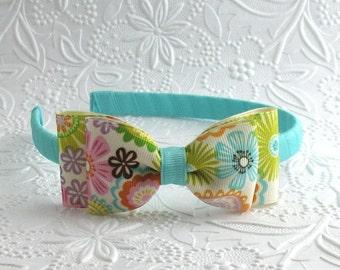 Girls Headband ~ Aqua Floral Bow Headband ~ Toddler Hard Headband ~ Big Girl Headband