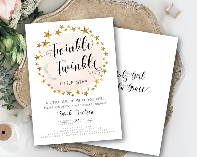 Twinkle Twinkle Little Star Baby Shower Invitation Girl Pink It's a Girl Modern Minimalist Gold Stars Watercolor - SEATTLE COLLECTION