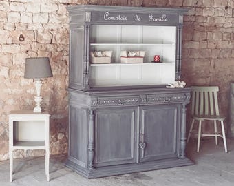 antique buffet counter family, weathered gray, shabby chic style