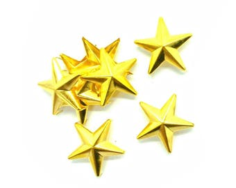 25 Pieces - Gold Star Studs Spike Rivets - Leather Crafts Jackets Belts Decor - Size 28 - 40mm