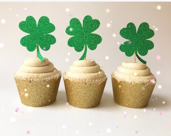 St. Patrick's Day Cupcake Toppers| Shamrock Toppers| Shamrock Picks| Kiss Me Im Irish| St Patricks Day| Four Leaf Clover