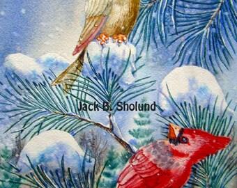 Cardinal Pair Winter Birds Watercolor Nature  Notecard
