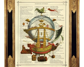 Airship Hot Air Balloon I Steampunk Poster - Vintage Victorian Book Page Art Print