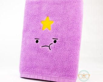 Adventure Time Bath Towel - Lumpy Space Princess (LSP) - Embroidered Geeky Bathroom Towel Decor