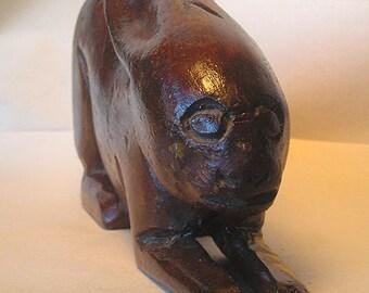 An Antique Carved Wood Folk Art Rabbit Z21