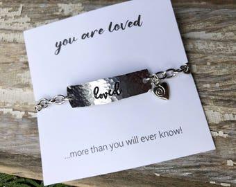 Loved I.D. bracelet  - You are so loved - custom stamped word bracelet - Love Squared Designs